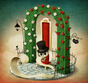 Fantasy illustration with green arch and  red royal chair and  rabbit with  list